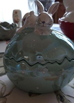 Шкатулка конфетница кролик керамика