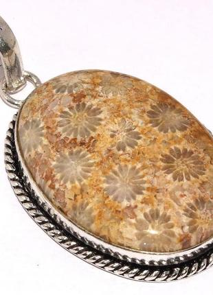 Индия, кулон - подвеска с хризантемовым кораллом