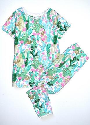 Tu классая пижама с футболкой принт кактусы. 3-4 года