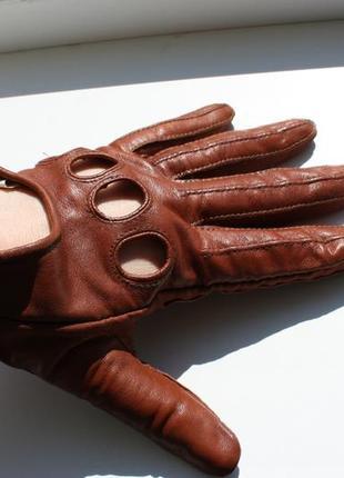 Кожаные автомобильные женские перчатки размер m