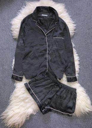 Атласный сатиновый костюм домашний атлас набор пижама рубашка шорты