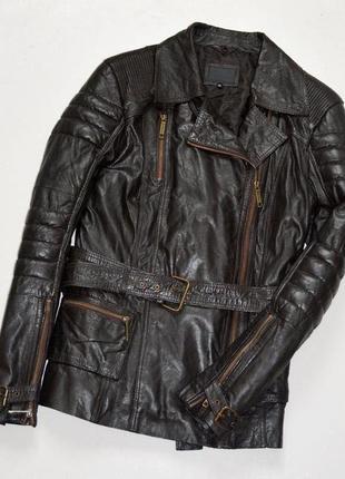 River island шикарная удлиненная куртка косуха на слое утеплителя,кожа