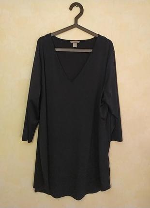 Батал большой размер шикарное чёрное платье черная туника удлиненная кофта чорна сукня