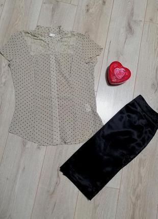 Блуза в горошек с коротким рукавом gloria jeans