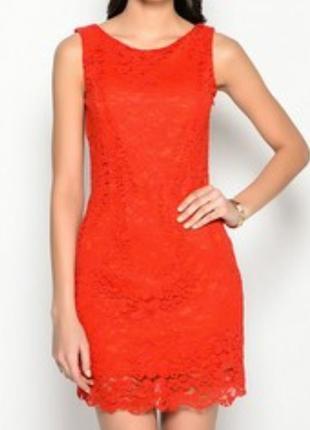 Красное кружевное платье oodji