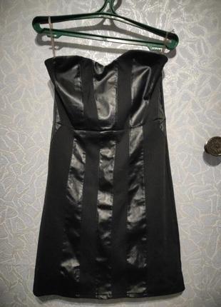 Платье с вставками из экокожи