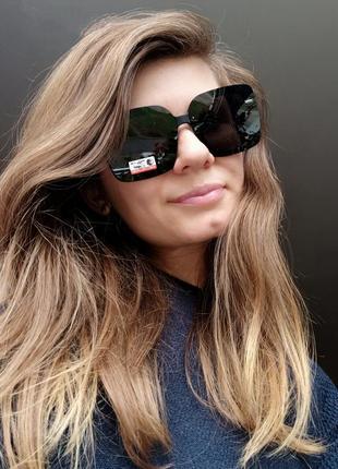 Новые шикарные очки с блеском по бокам (линза с поляризацией) черные