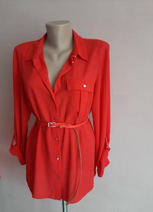 Красная, шикарная блуза-рубашка❤