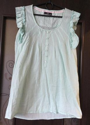 Хлопковая летняя рубашка блузка свободного кроя