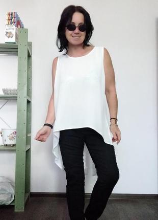 Plus-size! белая туника с длинной спинкой janina