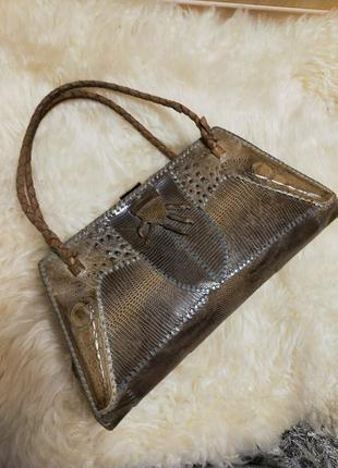 Шикарная сумка винтаж из кожи рептилии