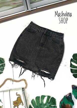 Классная джинсовая юбка с рванностями missguided