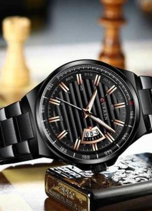 Чоловічий наручний годинник curren  all black|часы мужские