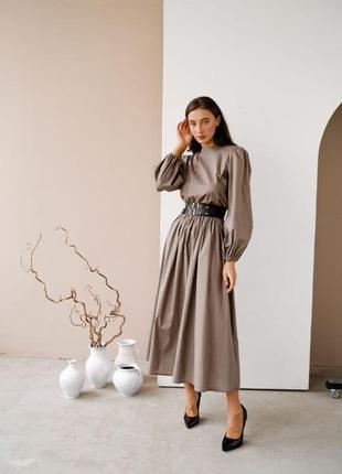 Длинное платье в пол с рукавами-фонариками