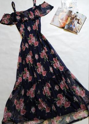 Шикарный длинный сарафан - сетка ,платье в цветочный принт !
