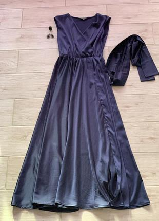 Вечернее шелковое платье синее