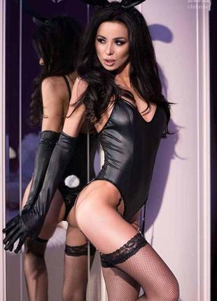 Chilirose 4124 bunny costume черный костюм кролика под латекс зайчик