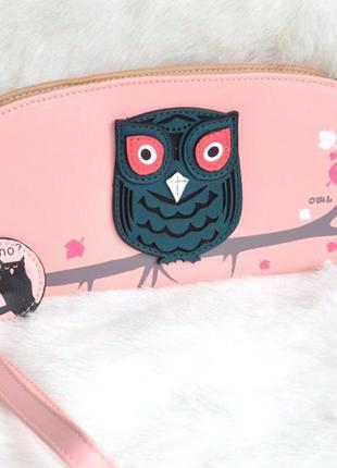 Розовый женский кошелек-клатч совушка.