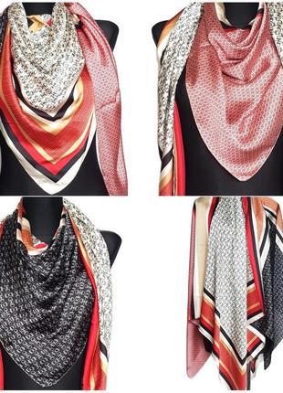 Большой атласный платок косынка 4 в 1 красный черный