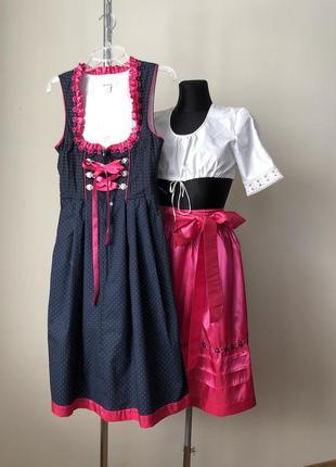 Esmara дирндль баварский костюм синий сарафан розовый