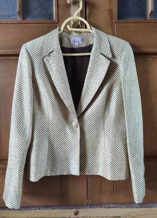 Стильный пиджак из натурального шёлка на подкладке alouette france р.4 (38 евро)