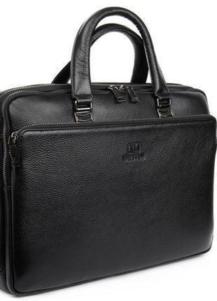 Мужская сумка-портфель для документов и ноутбука из натуральной кожи