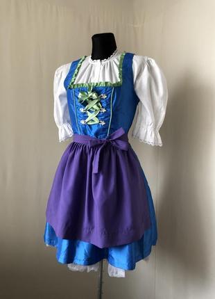 Outfit fashion nkd дирндль баварский костюм голубой синий сарафан сиреневый фартук
