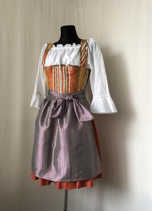 Дирндль баварский костюм оранжевый сарафан розовый фартук