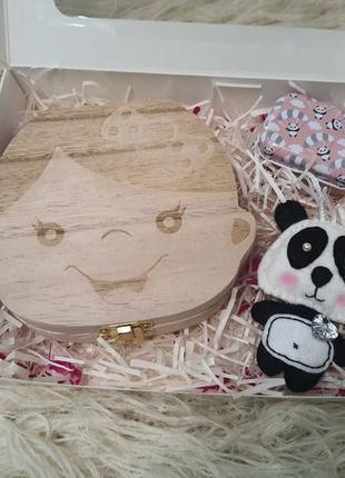 Подарочный набор, деревяная, жестяная шкатулка для зубов панда