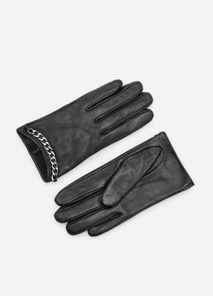Натуральные кожаные перчатки черные с цепью кожа рукавицы короткие