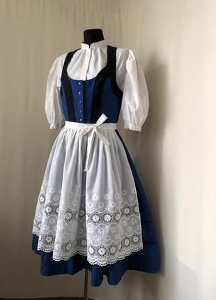 Дирндль баварский костюм винтаж синий сарафан белый фартук кружево