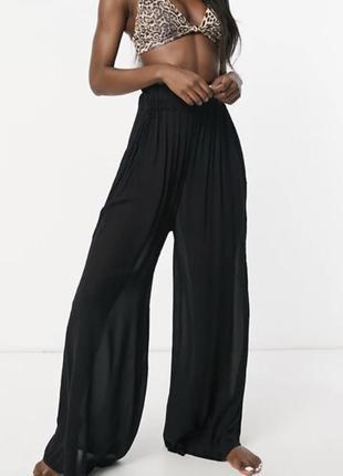 Черные пляжные брюки палаццо с высокой талией asos design