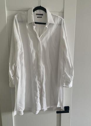 Белая длинная рубашка с разрезами