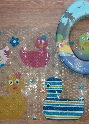 Набор коврик антискользящий для купания canpool+накладка сидушка на унитаз детская