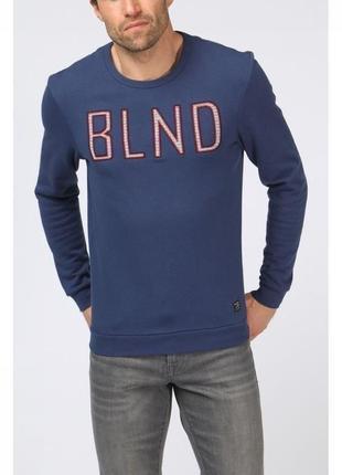 Темно синий свитшот с надписью и мягкой подкладкой blend