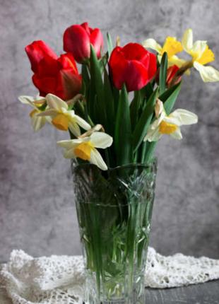 Ликвидация срочно🔥 винтаж высокая хрустальная ваза ручной работы