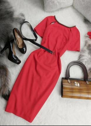 Шикарное супер стильное вечернее нарядное красное платье на молнии сзади элегантное