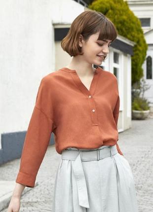 Льняная блуза блузка рубашка лен юникло uniqlo