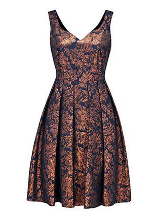 Шикарное праздничное синее платье с золотым рисунком (xxl, xxxl)