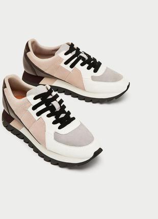 Новые контрастные кожаные кроссовки на платформе zara (36,37,38,39,40)