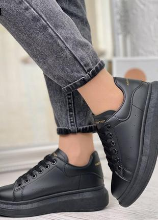 Кроссовки эко кожа чёрные крутые