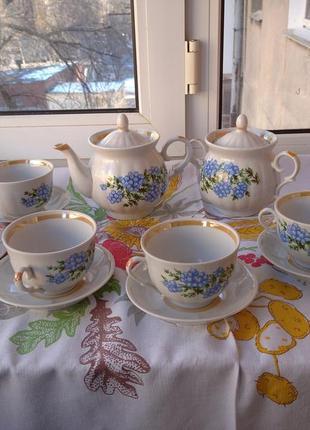 Новый чайный фарфоровый сервиз городницкий фарфоровый завод