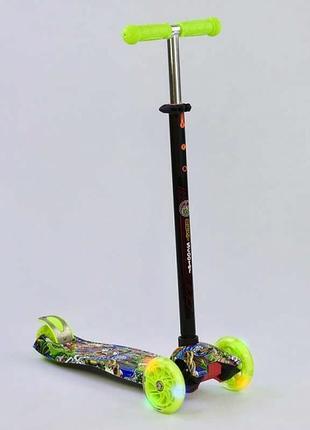 Самокат maxi, 4 колеса pu, світло, з принтом