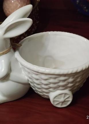 Заяц с тележкой! керамика! не маленький!