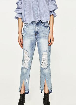 Рваные джинсы zara