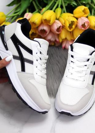 Удобные весенние дышащие белые серые женские кроссовки весна 2021