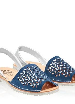 Шикарные сандалии, абаркасы из перфорированной замши, оригинал, испания