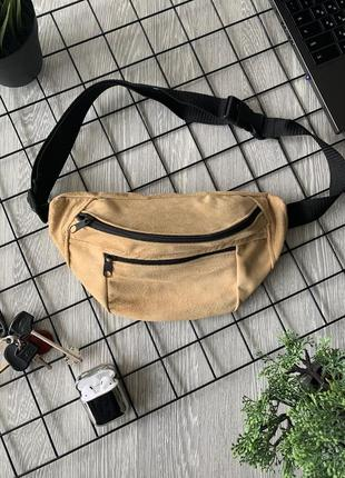 Бананка барсетка сумка земшевая натуральная на пояс городская эко-сумка слинг б04