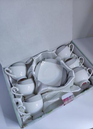"""Фарфоровый набор чайный сервиз на 6человек 12 предметов фарфор """"s&t"""""""