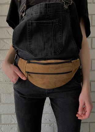 Мини бананка барсетка сумочка эко слинг:поясная,на грудь,через плечо замшевая б05